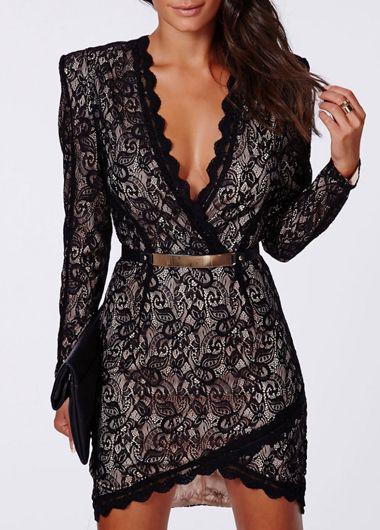 Lace Splicing V Neck Wrap Dress