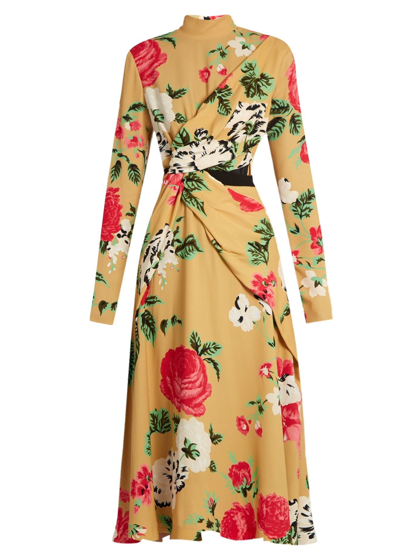 MSGM Ocre & Coral Floral-Print Crepe Dress. This is Lovely and Demure with