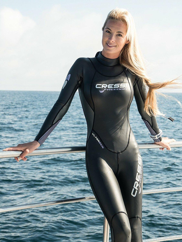 women in tight scuba diving bodysuits