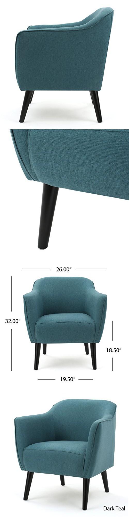 Tresten Dark Teal Mid Cenrtury Modern Fabric Office Arm Chair