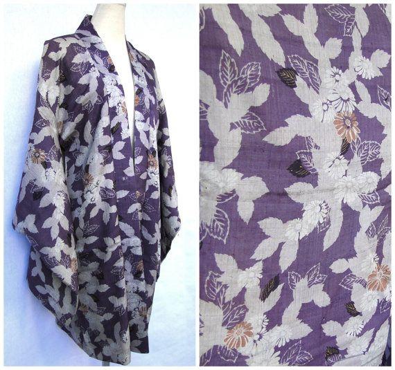 Ikat Silk Haori Jacket. Japanese Vintage Coat. Purple Violet Gray Grey Floral (Ref: 634)