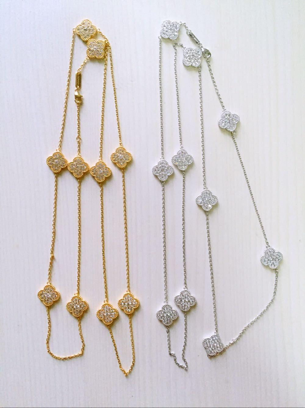 Four leaf clover necklace for women full crystal gem long ten flower