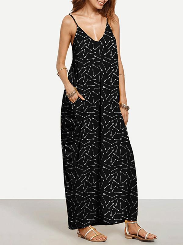 c5c9c43f0f9f2 Cool Black Bohemia Spaghetti Straps V Neck Maxi Dress