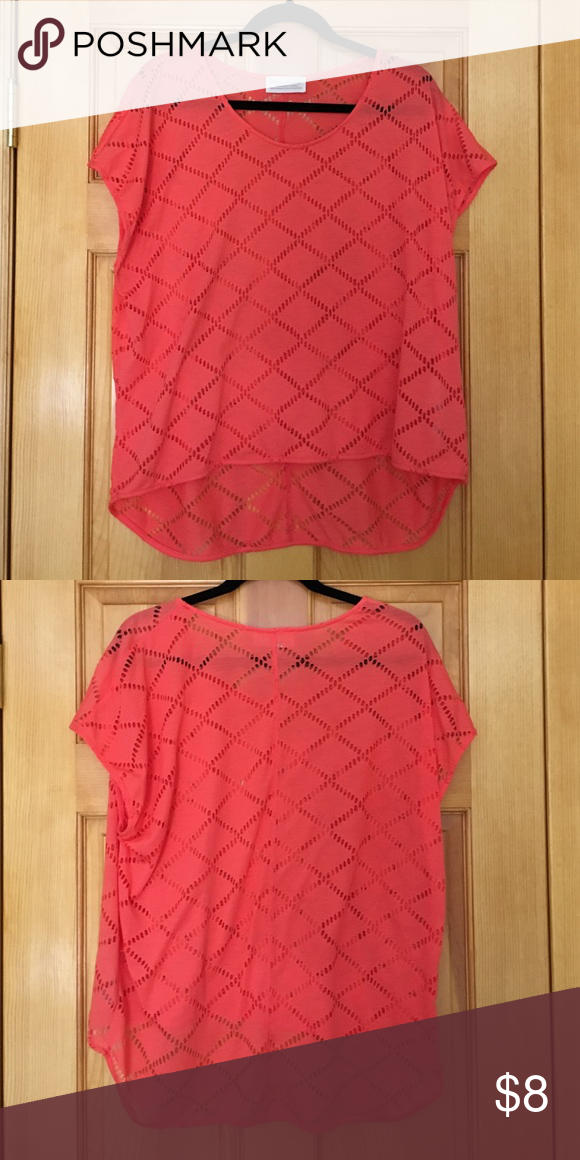 ZARA Relaxed Fit Top with Hi Lo Hem Super cute for end of summer!!  See thru top, perfect for layering over your favorite bikini!!  Great condition! Zara Tops Tees - Short Sleeve