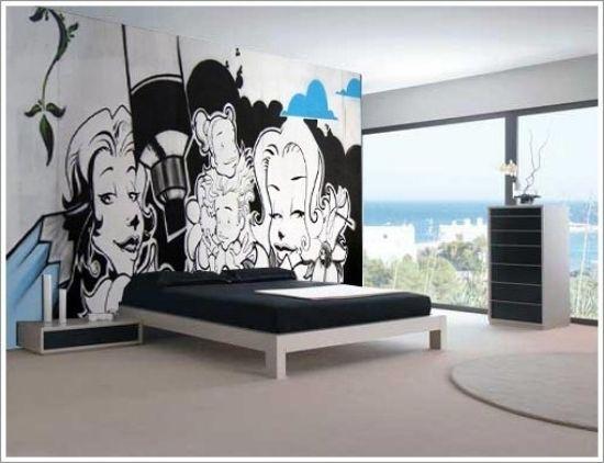 graffiti als wanddekoration kunst straße schlafzimmer dekorieren, Hause deko