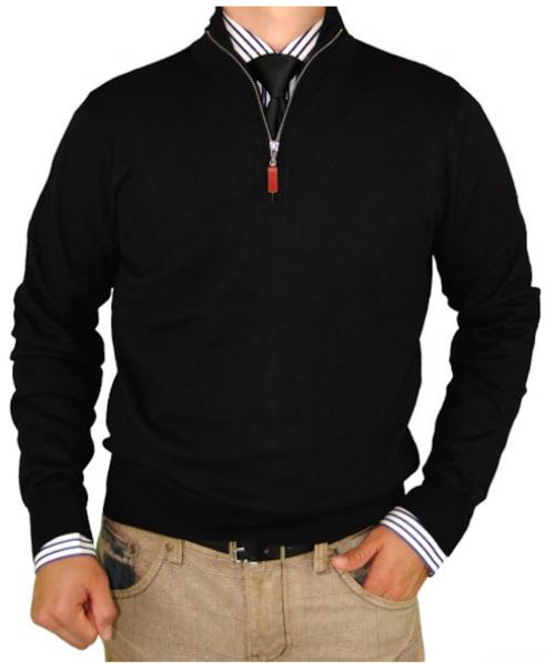 Luciano Natazzi Classic Fit Quarter Zip Mock Neck Sweater Cotton Cashmere Touch