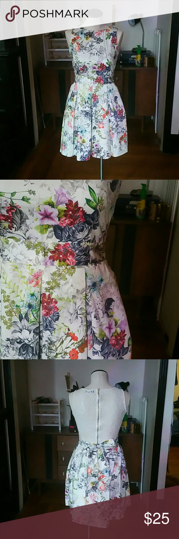 """Closet London Floral Fit and Flare Dress Adorable Closet London Dress originally from ModCloth. Has a lace back that would look adorable with a button down layered underneath. Unlined but I had no issue with sheer. Large pleats in skirt. 8 UK fits like a 4 US.  97% cotton 3% elastane, lace is 80% cotton and 20% nylon.  Length is 33"""" from shoulder seam to hem. Bust is 31"""". Waist is 25"""". Hips are 38"""". Closet Dresses Mini"""