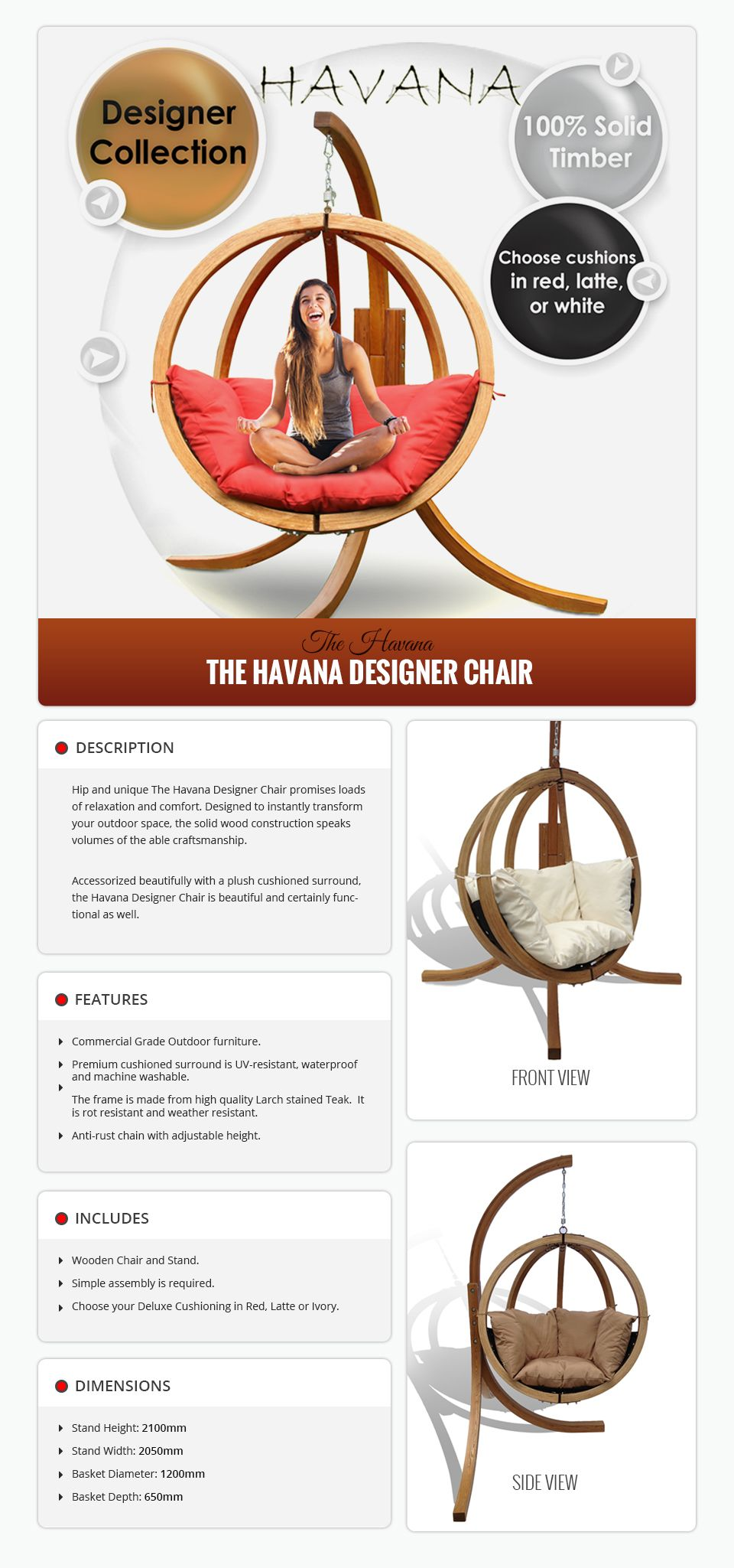 Havana Egg swing chair, Commercial outdoor furniture, Havana