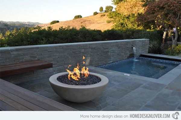 15 Dramatic Modern Pool Areas With Fire Pits Home Design Lover Fire Pit Designs Modern Pools Outdoor Fire Pit Seating