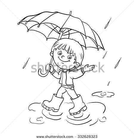 Coloring Page Outline Of A Cartoon Joyful Boy Walking In The Rain