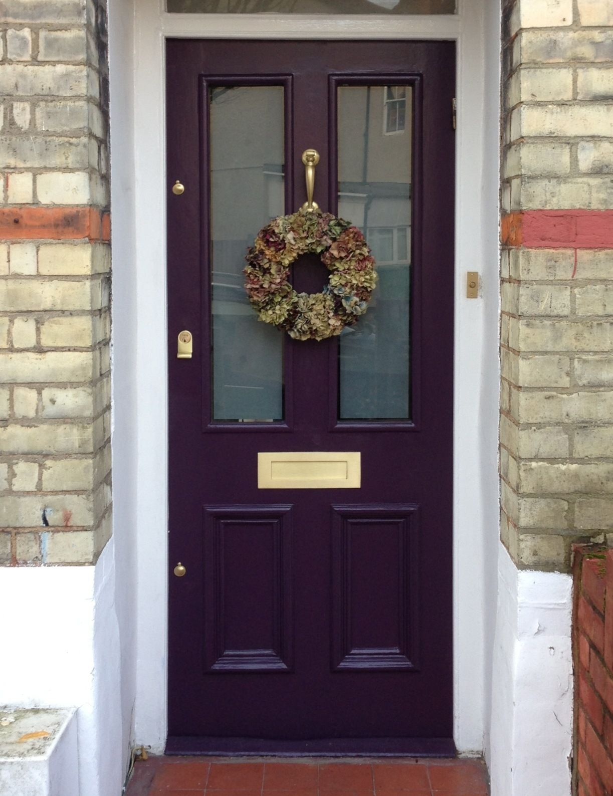 London front door, Farrow & Ball Pelt with brushed brass hardware ...