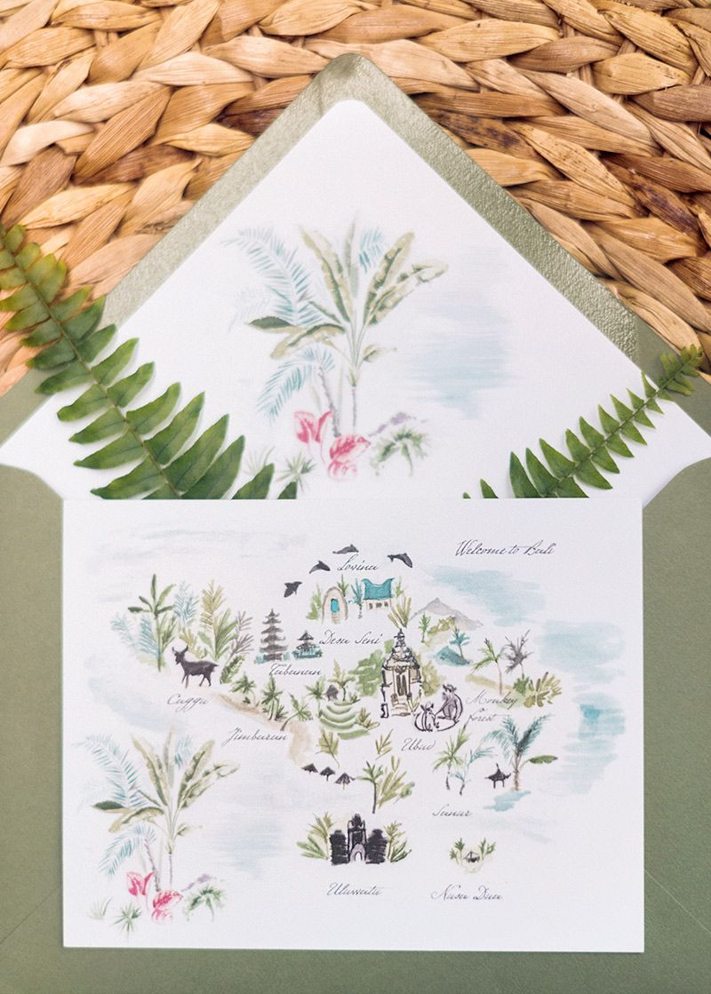 Jolly Edition Bali wedding stationery illustrated by Laura Shema p ...
