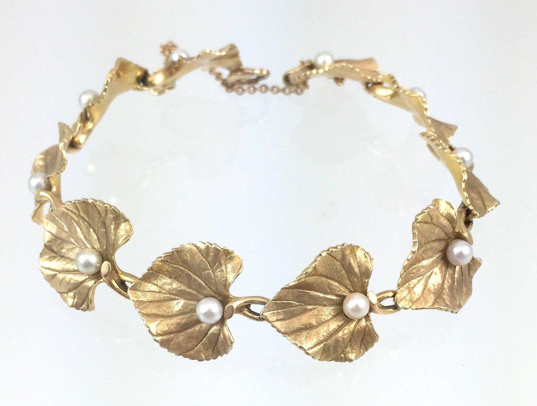 K gold leaf u pearl bracelet vintage s mm cultured pearls