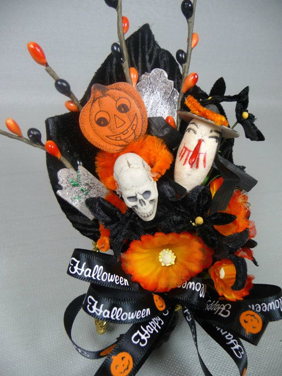Halloween Corsage Vintage Witch Skull Tombstones Spun Cotton Retro Black Orange Vintage Millinery Decoration Halloween Crafts Halloween Ribbon Vintage Halloween