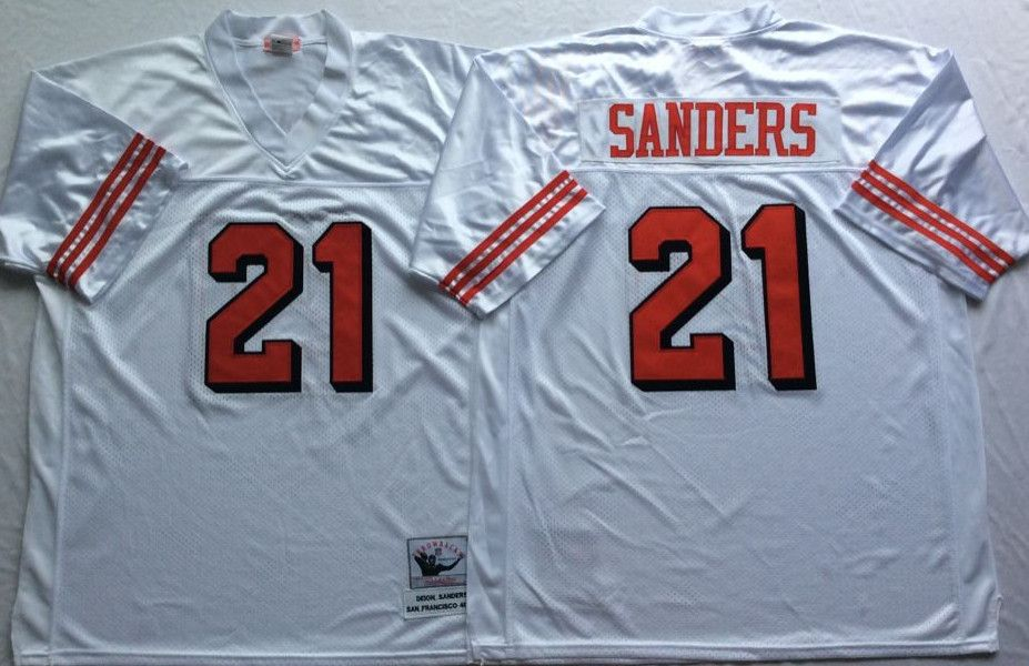 49ers 21 Deion Sanders White 75th Throwback Jersey  c3d277625