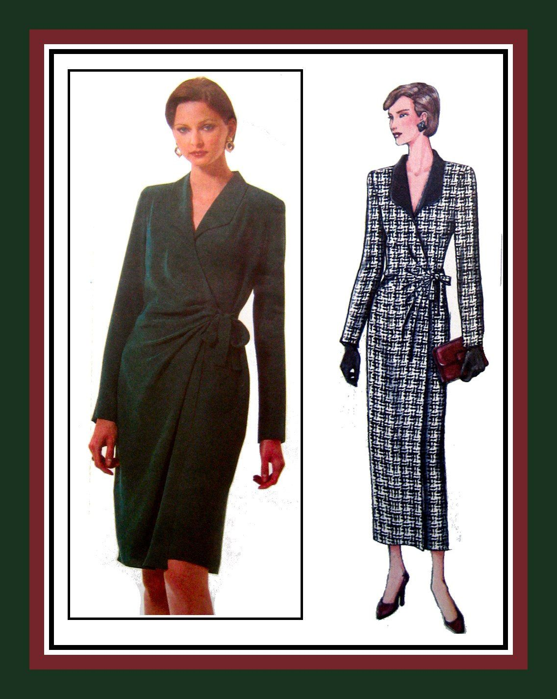 Chic front wrap dressvogue sewing patterntwo stylesside