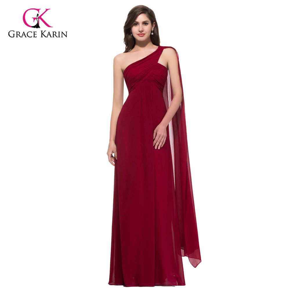 Grace karin sexy formal one shoulder chiffon padded fashion cheap
