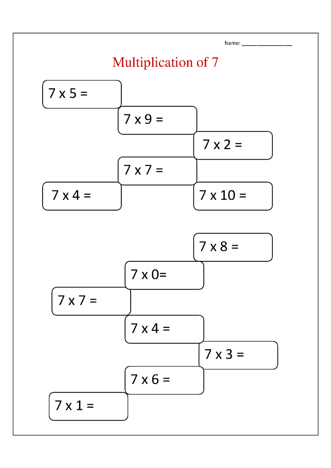 Practice Your Children S Multiplication Skill By Using