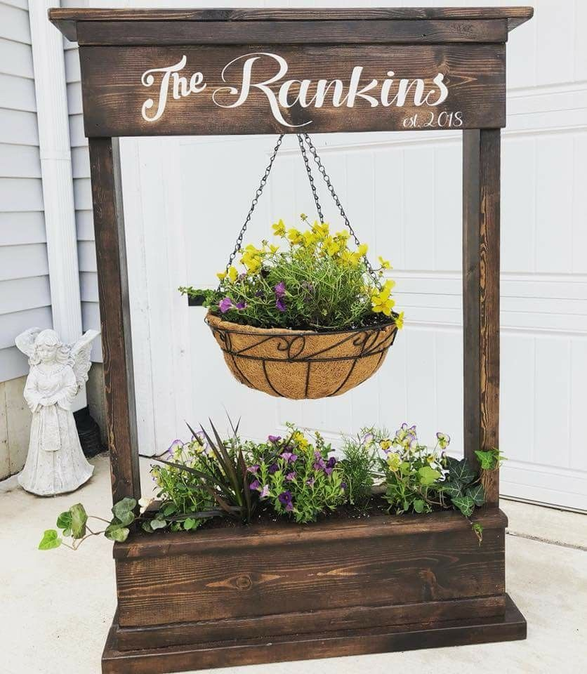 Personalized flowerbox in 2020 | Diy plant stand, Wood ... on Hanging Plants Stand Design  id=54344