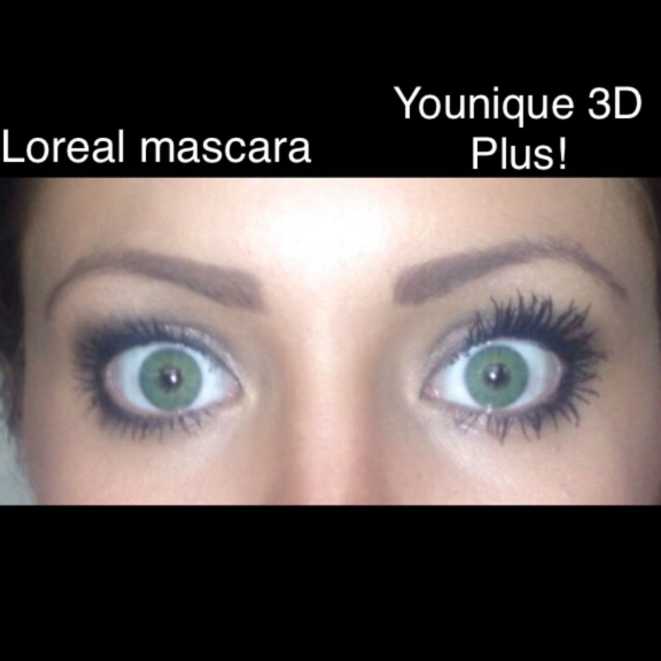 1c9373f3447 A Picture of my eyes with one coat of Loreal Voluminous mascara vs. one  coat of Younique 3D+ Fiberlash Mascara! This stuff is incredible!