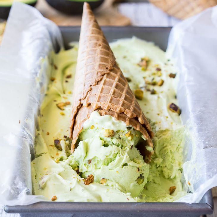 No Churn Avocado Pistachio Ice Cream Recipe Desserts With California Avocado Sweetened Condensed M Avocado Dessert Pistachio Ice Cream Stuffed Avocado Healthy