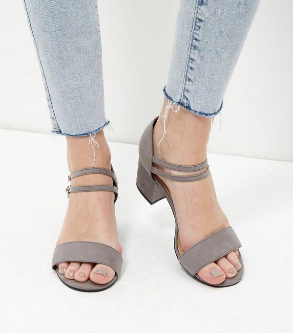 Grey Suedette Ankle Strap Block Heels