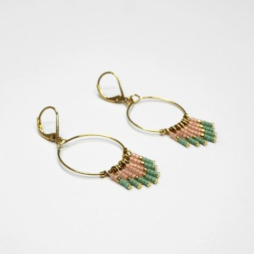 oucles d oreilles cheyenne rose or