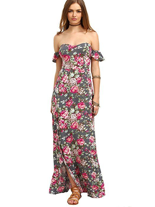 66ede1c1494 Milumia Women s Off The Shoulder Floral Print Split Maxi Dress Grey ...