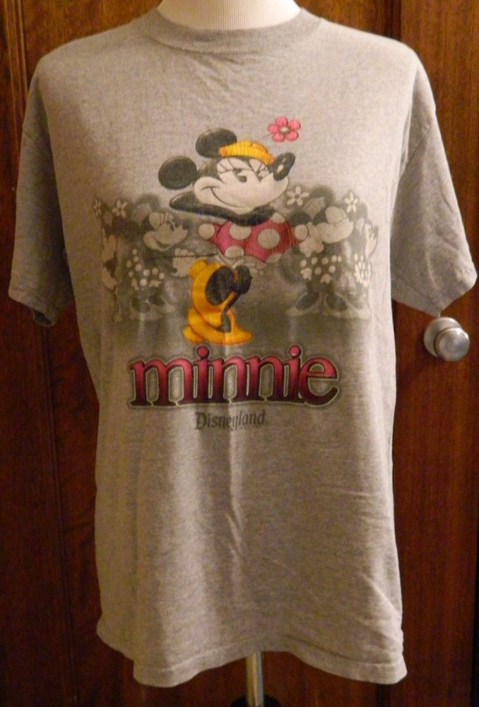 Women's Minnie Mouse Disney Tshirt Short Sleeve Disneyland Resort Gray Size M #DisneylandResort #EmbellishedTee