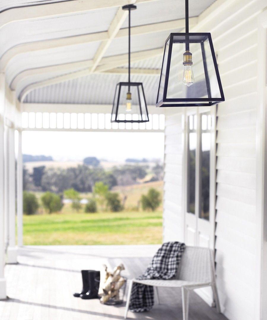 Southampton 1 Light Large Exterior Pendant In Antique Black Outdoor House Lighting