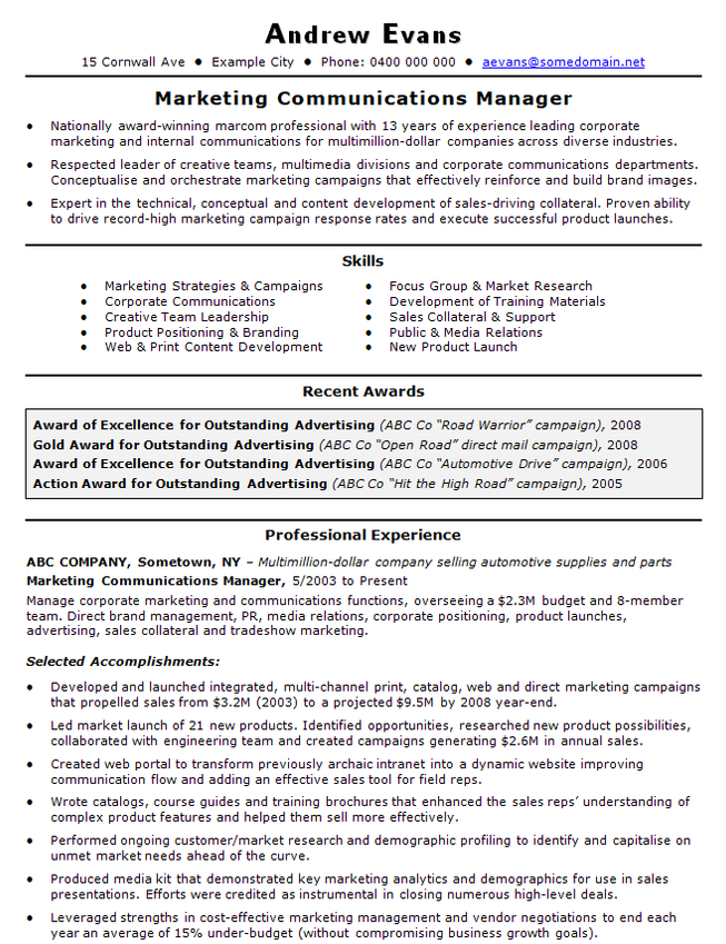 marketing communications manager cv