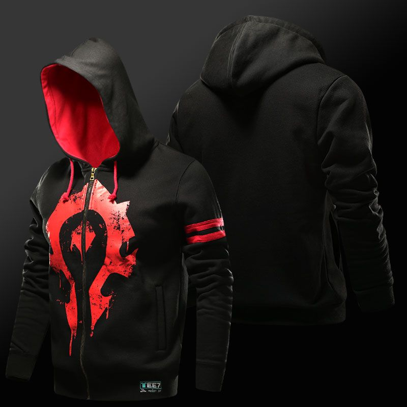World of Warcraft Horde Hoodie WOW For the Horde Zipper