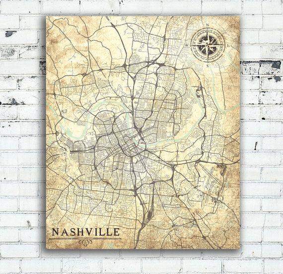 NASHVILLE Tennessee Vintage map Nashville City Tennessee Vintage map Art Print poster Nashville Vintage retro old map United States America