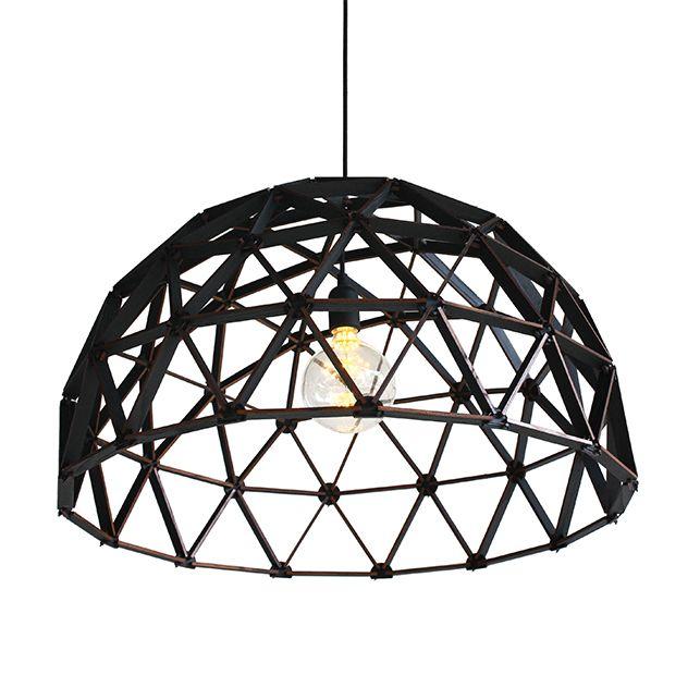 Koepellamp Zwart 75cm Houten Hanglamp Van Binthout Van Nederlands