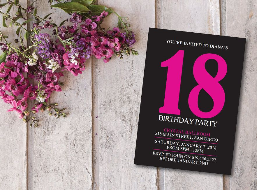 Birthday Invitation Card Printable Pink Black Ecard Template Customized To Any Age By BlessedDayPaper