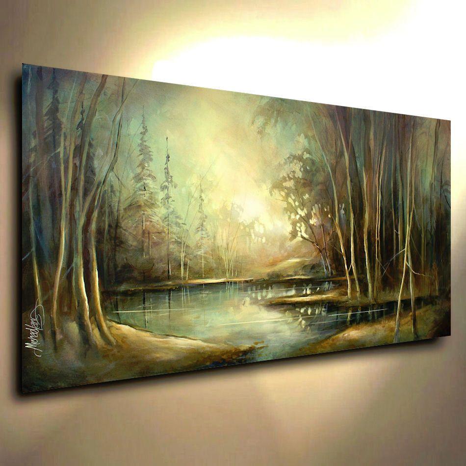Landscape Art Original Painting Modern Contemporary  DECOR Mix Lang cert. Unique #Impressionism