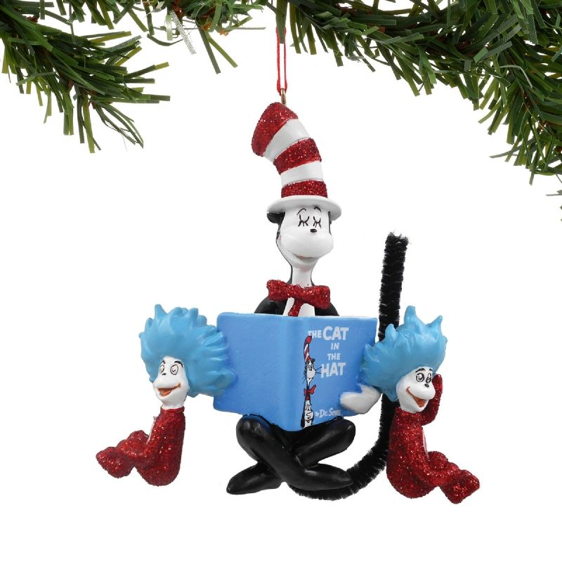 46071de1 Cat in the Hat Reading Book to Thing 1 and Thing 2 Ornament | Dr ...