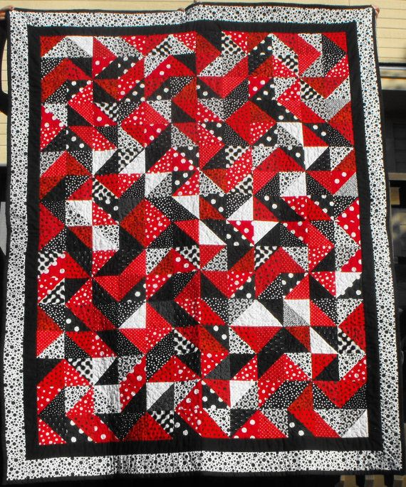 Red White And Black Polka Dotted Pinwheel By Songbirdcrowquilts