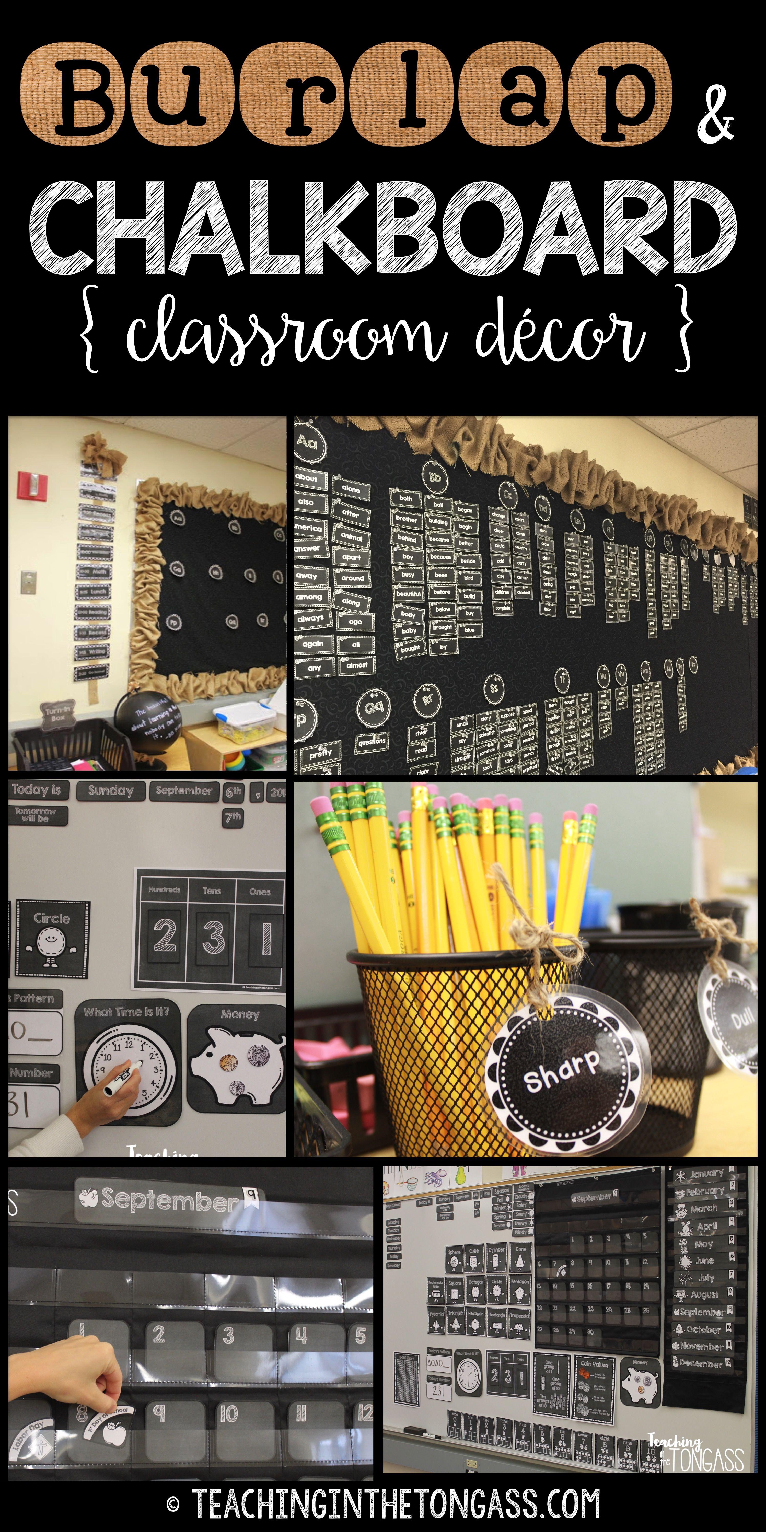 Burlap And Chalkboard Bulletin Board And Classroom Decor Teaching