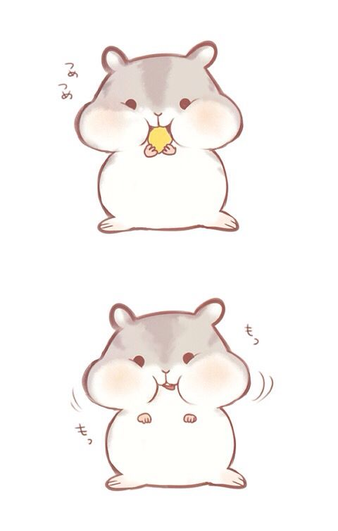 animal, animation, art, cute, drawing, hamster, illustration, kawaii ...