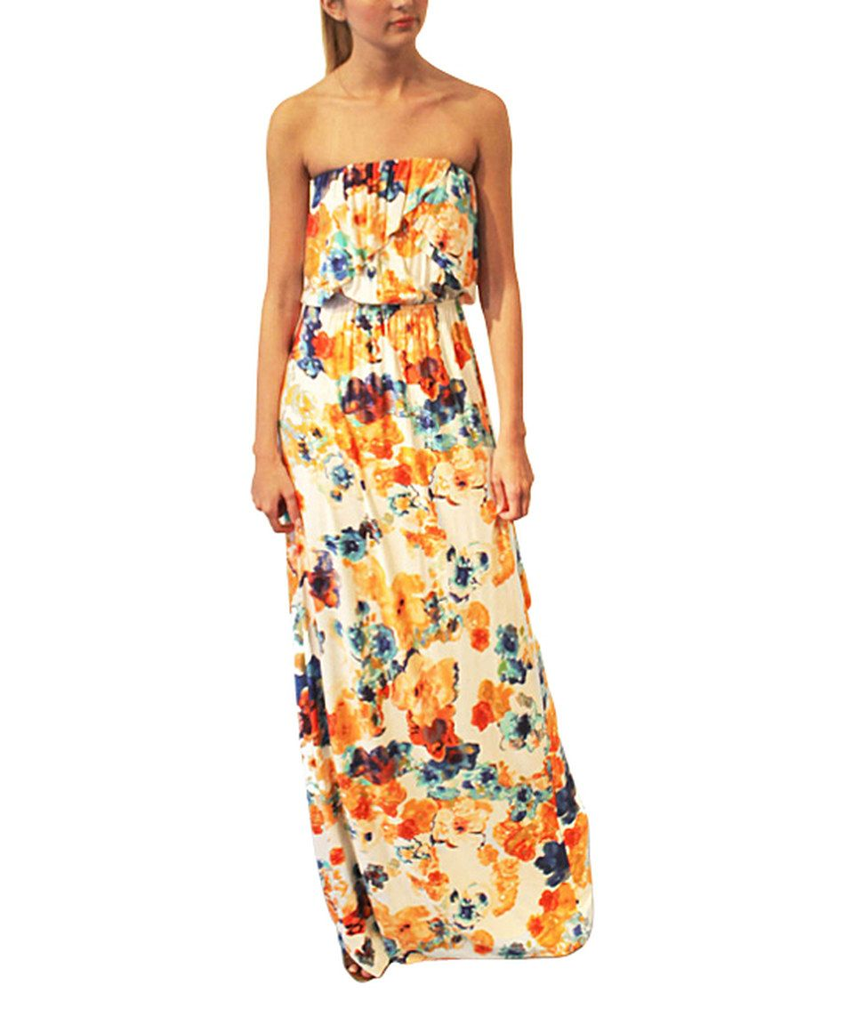 She floral ruffle strapless maxi dress women by she zulily