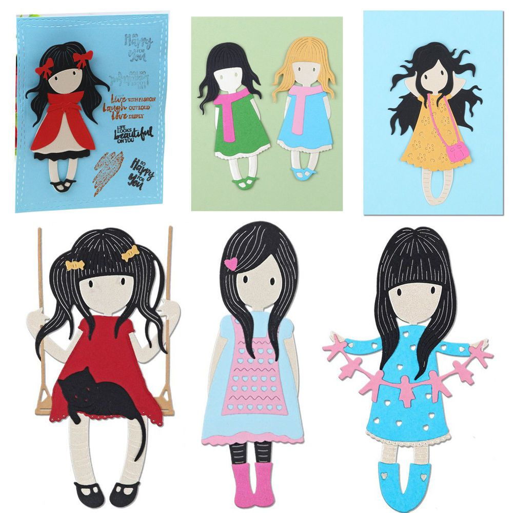MARIANNE CUTE GIRLS NON DIE CUT TOPPERS FOR CARDS OR CRAFTS
