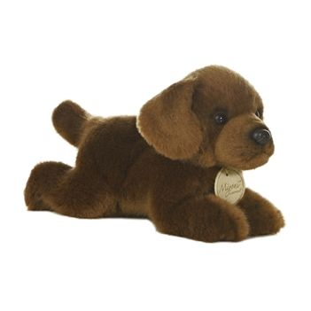 Realistic Stuffed Chocolate Lab 8 Inch Plush Dog By Aurora Raining