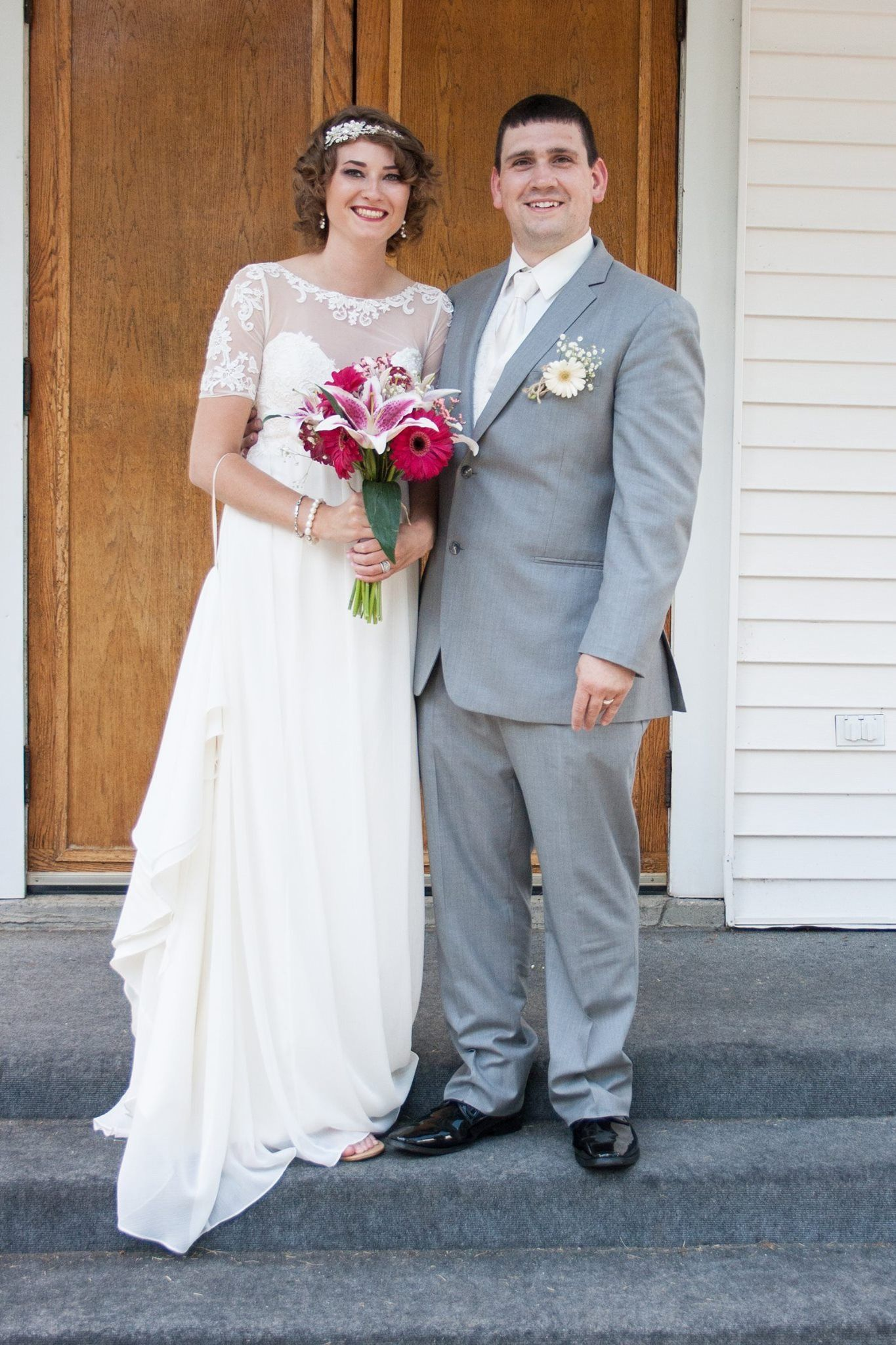 Cute Church Wedding Photo Of Bride And Groom Vintage Style