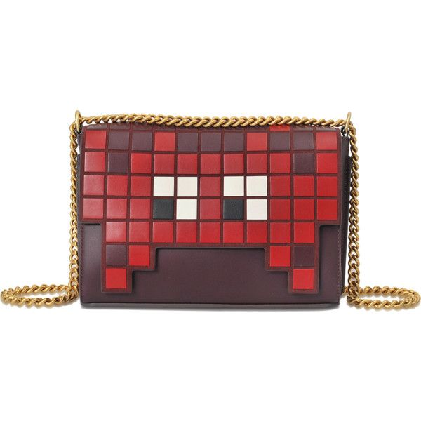 Anya Hindmarch Ephson Shoulder Space Invaders Flap in Burgundy Silk... (€830) ❤ liked on Polyvore featuring bags, handbags, shoulder bags, purple, purple shoulder bag, purple purse, red shoulder bag, burgundy purse and anya hindmarch