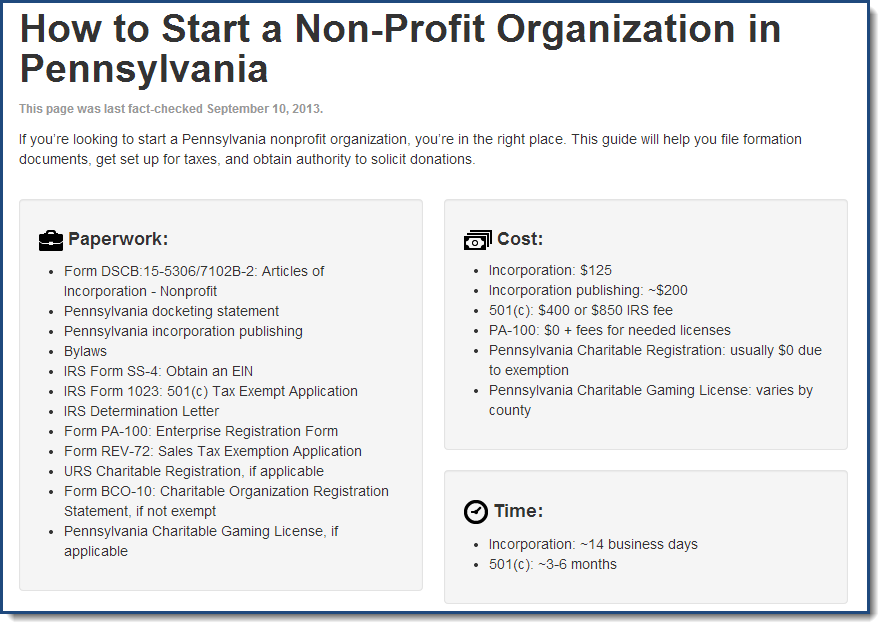 How To Start A NonProfit Organization In Pennsylvania Paperwork