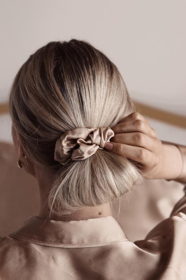 Golden Beige Silk Hair Scrunchie | Nice Cream London – Scrunchies Blog