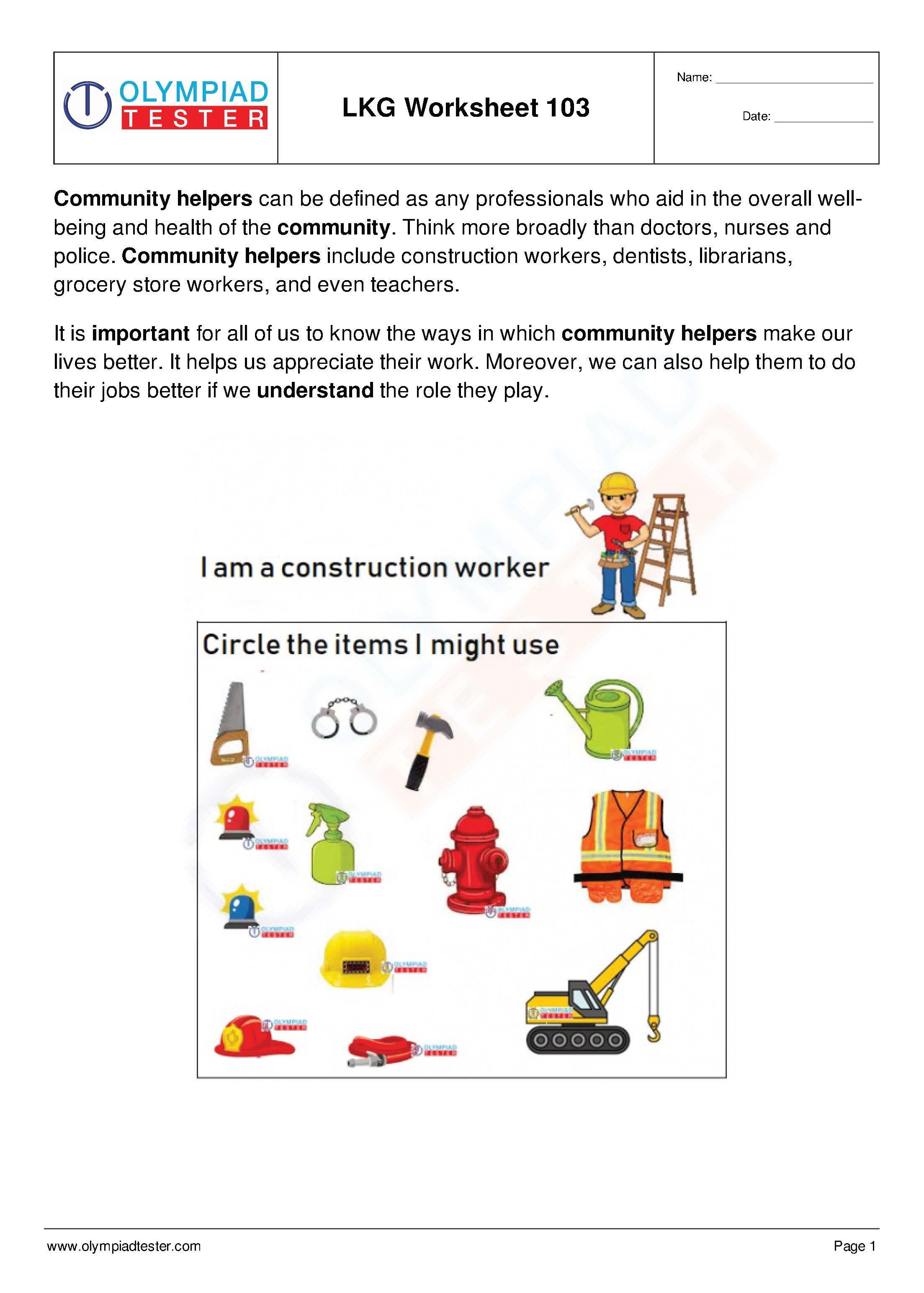 Worksheet For Lkg Free