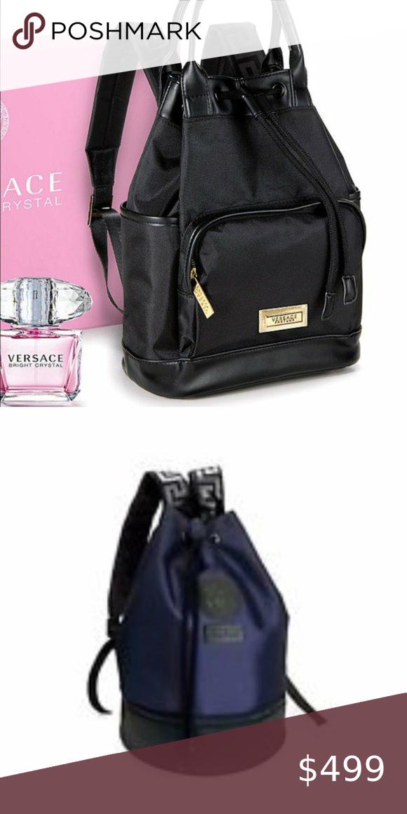 Versace Authentic Bright Crystal Backpack 2020 Authentic Versace Drawstring Backpack Summer 2020 Bright Crystal Line Has Medusa Pat In 2020 Versace Bag Backpacks Bags