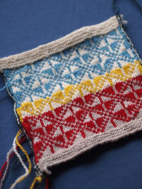 swatch for Latvian mittens by craftivore, via Flickr
